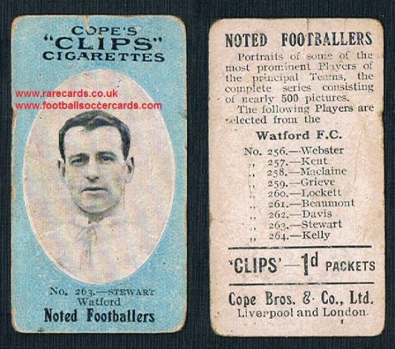 1909 Cope's Clips 3rd series Noted Footballers, 500 back, 263 Watford Stewart
